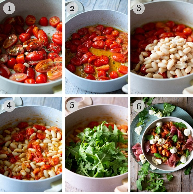 Step by step photos for making a warm white bean salad