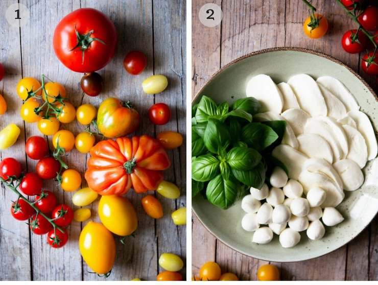 A collage image of different coloured tomatoes and slices of mozzarella for making a caprese salad