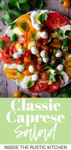 A collage image of a caprese salad