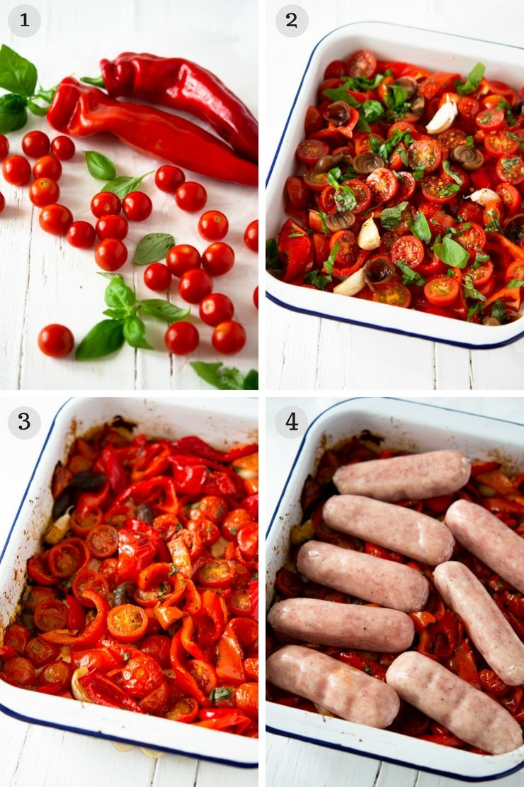 Step by step photos for making an Italian sausage bake