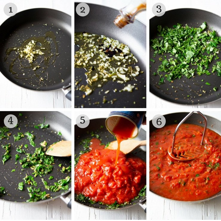 Step by step photos for making authentic Italian tomato sauce