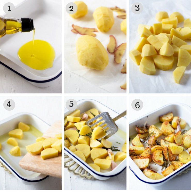 Step by step photos for making Italian roast potatoes