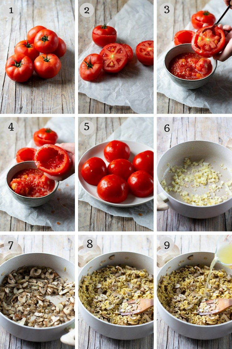 Step by step photos for making baked stuffed tomatoes with orzo pasta