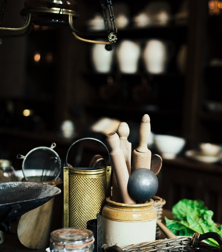 Essential kitchen tools for Italian cooking in a kitchen