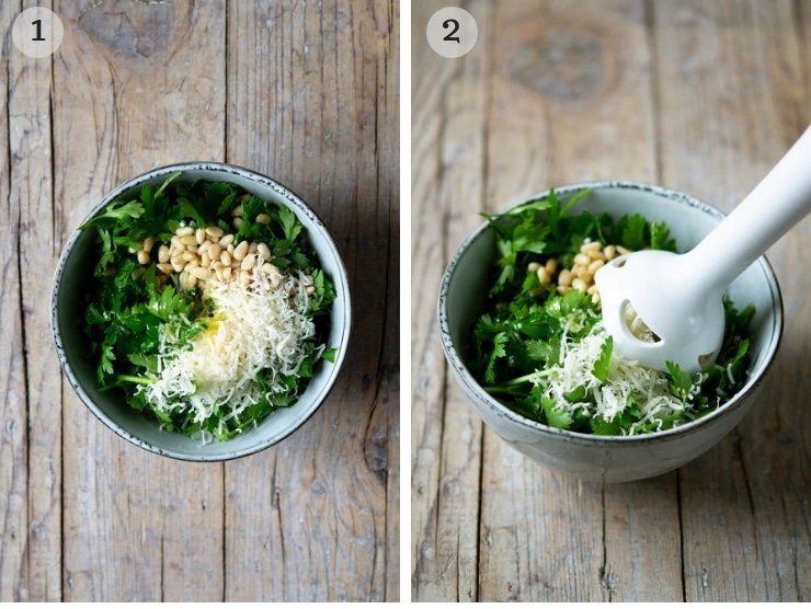 Step by step photos for making parsley pesto