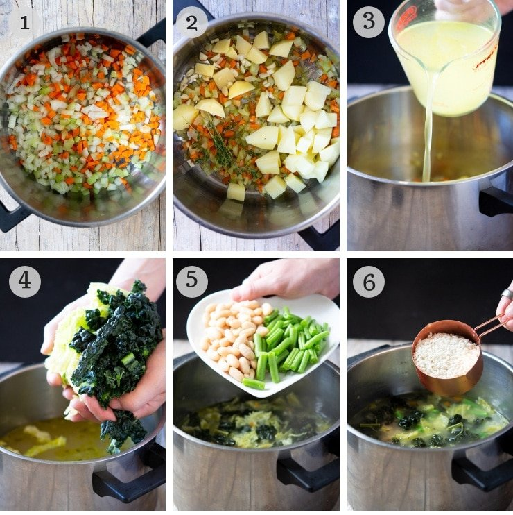 Step by step photos for making Tuscan minestrone soup
