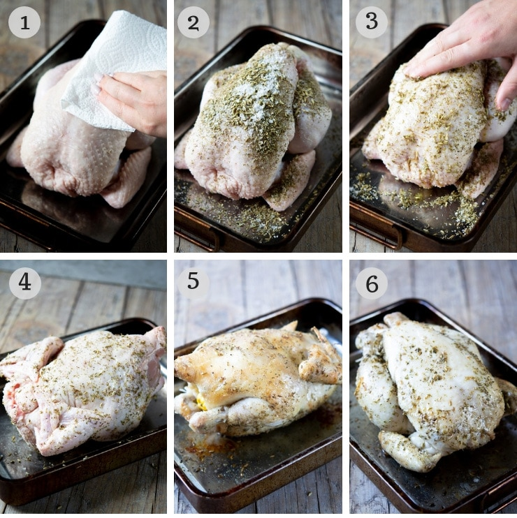 Step by step photos for making a simple lemon roast chicken