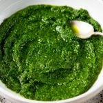 A close up of parsley pesto