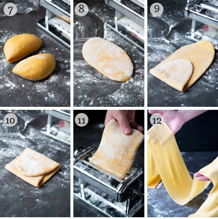 Step by step photos for making homemade pasta dough with a pasta machine