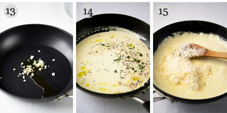 Step by step photos for making a parmesan cream sauce for mushroom ravioli