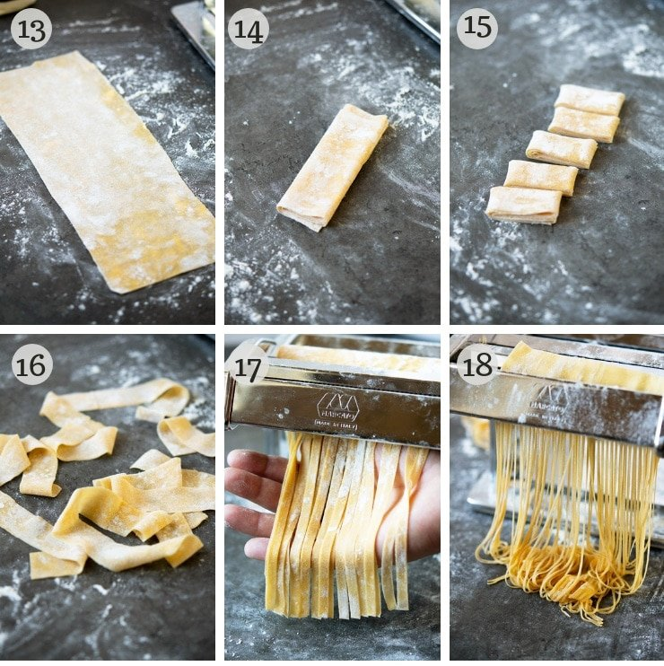 Step vy step photos for making lasagne, tagliatelle, pappardelle and fettuccine with homemade pasta dough