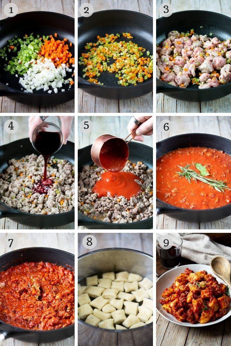 Step by step photos for making an Italian sausage ragu