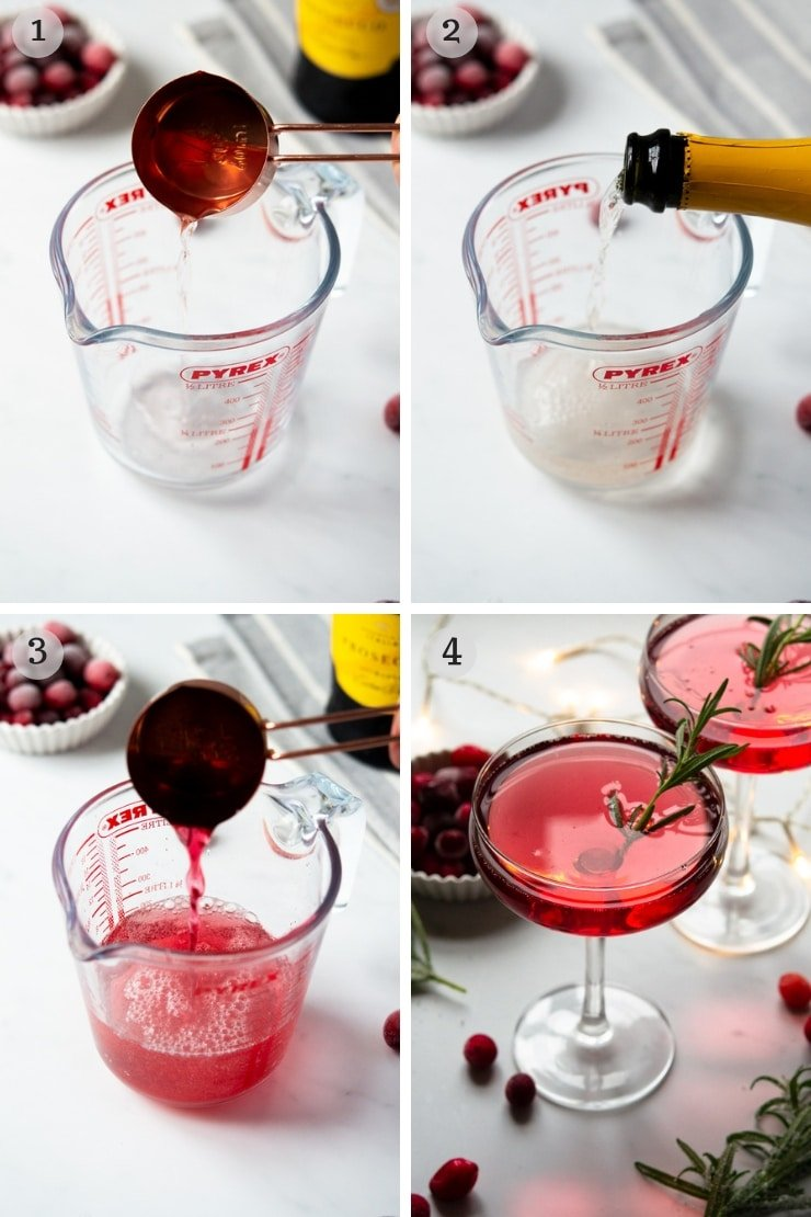 Step by step photos for making a Christmas cocktail