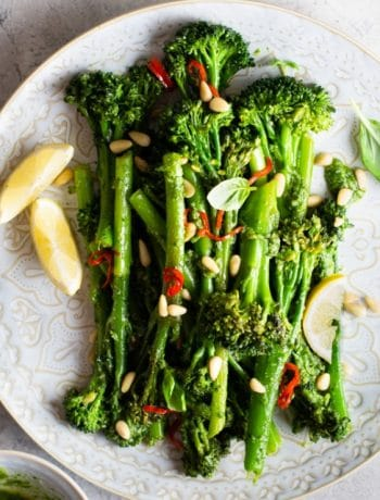 A close up of sauteed broccolini on a plate