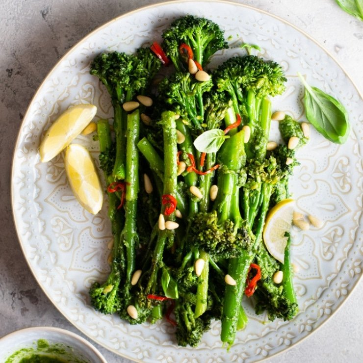 Sauteed Broccolini with Pesto, Pine Nuts & Chilli