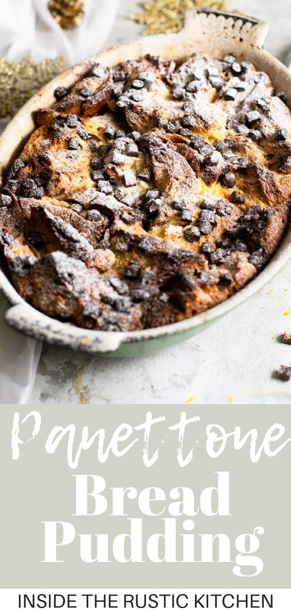 Panettone Bread Pudding. A delicious Christmas Italian dessert made with festive spices and chocolate chips. It's easy, comforting and the perfect way to cosy up this Christmas. Serve with a dollop of fresh whipped cream. #Insidetherustickitchen #Panettone #Christmasdessert