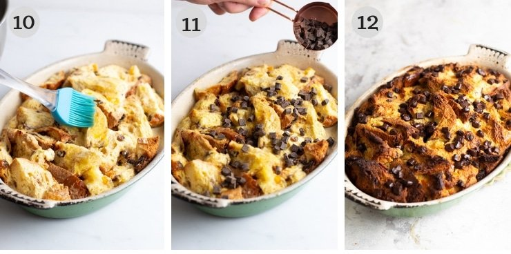 Three step by step photos for making panettone bread pudding