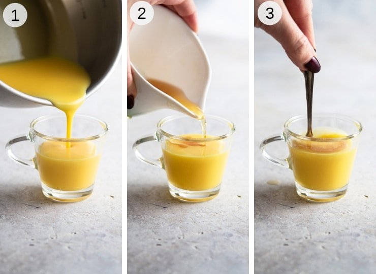 Step by step photos for making a bombardino drink