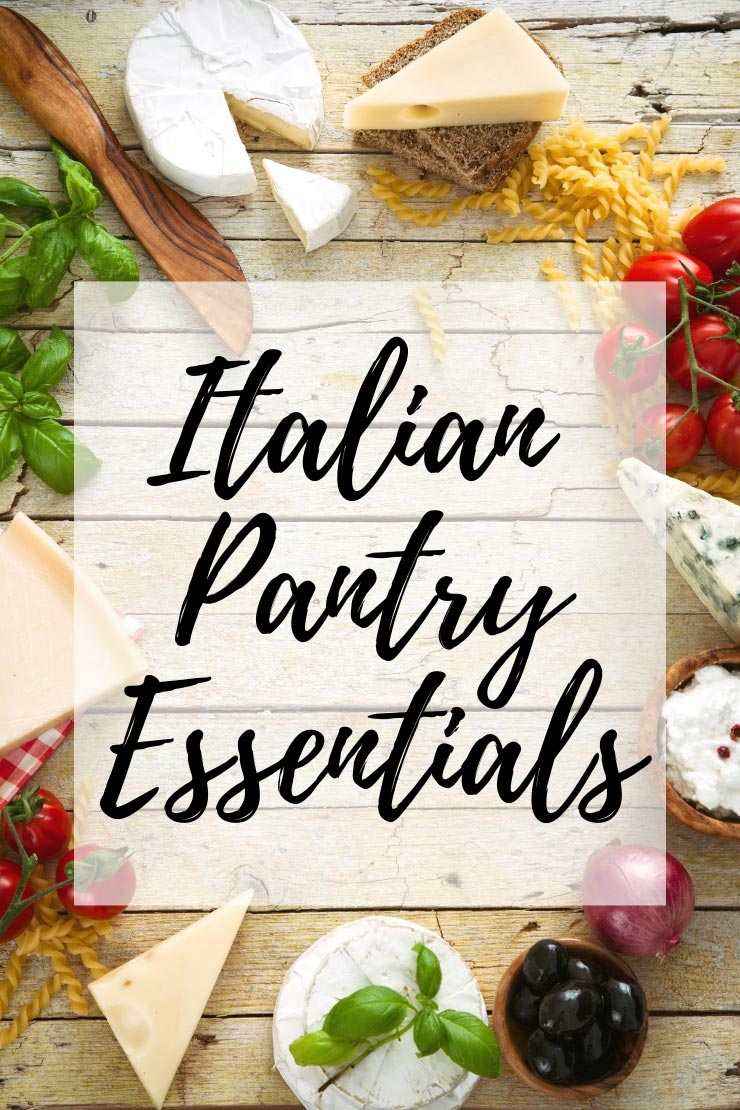 A graphic for Italian pantry essentials