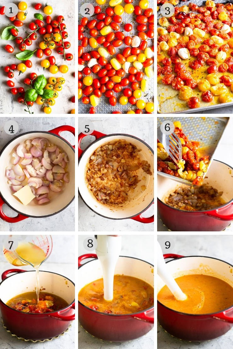 Step by step photos for how to make roasted tomato soup