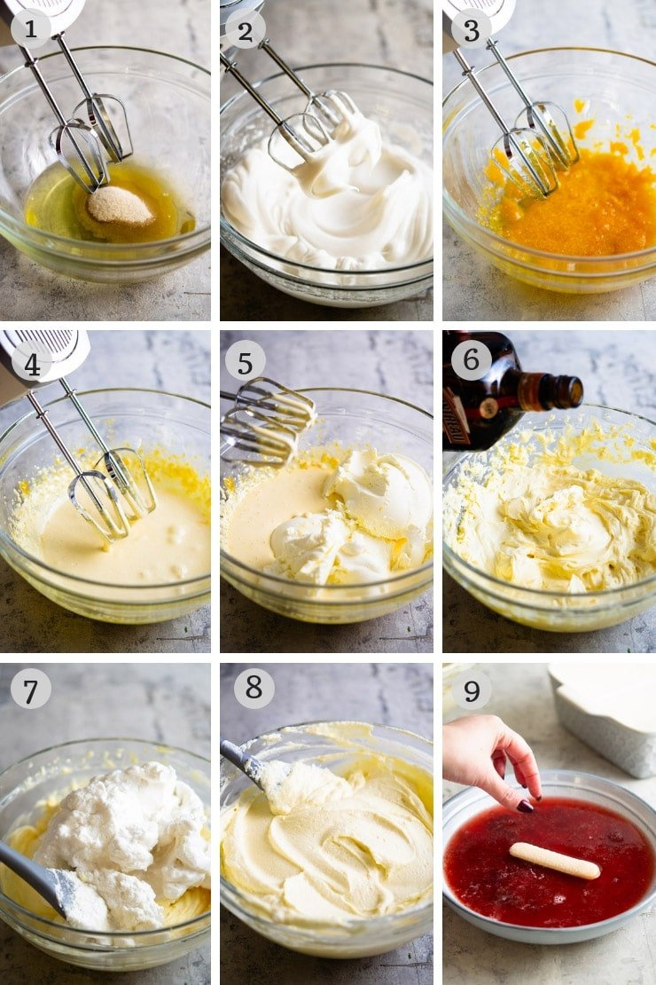 Step by step photos for making strawberry tiramisu