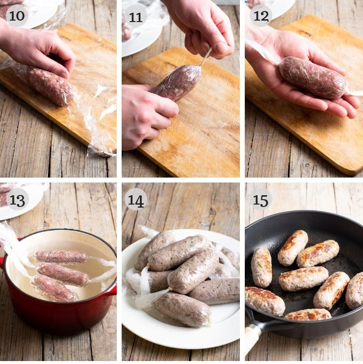 Step by step photos for rolling up homemade sausage
