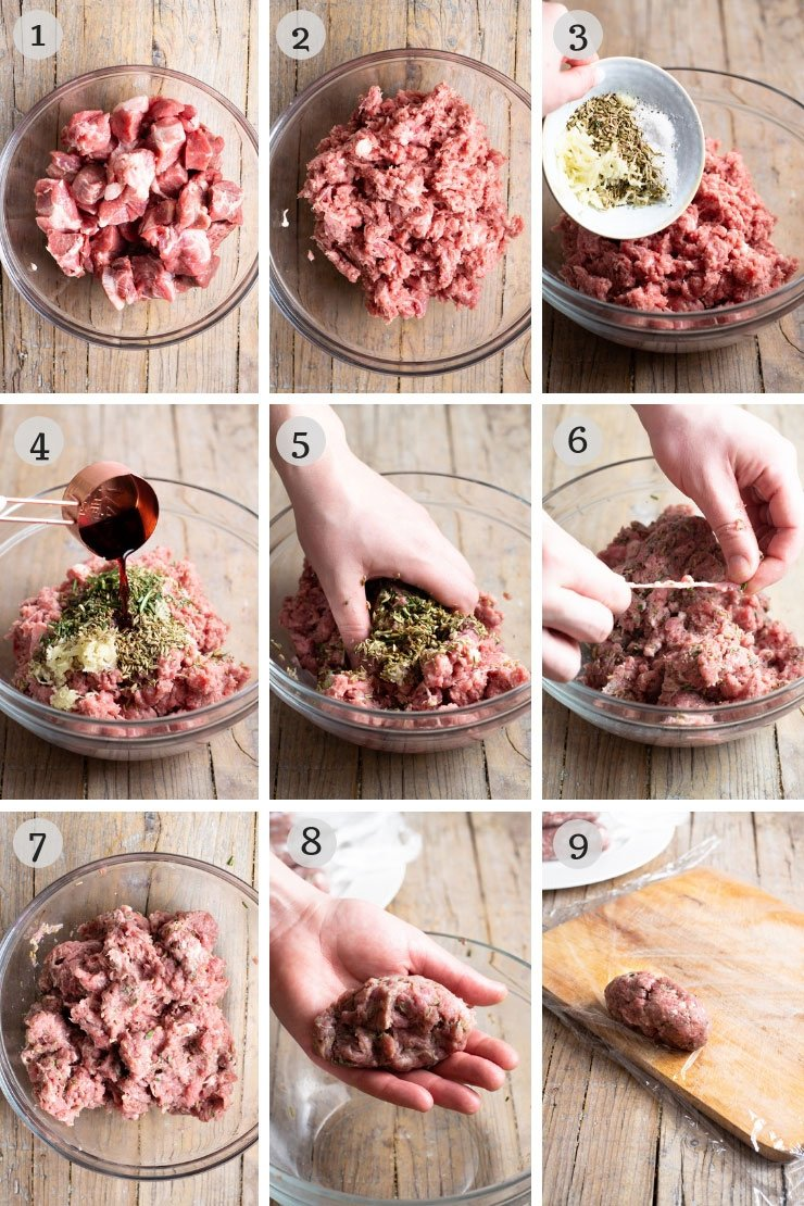 Step by step photos for making Italian homemade sausage