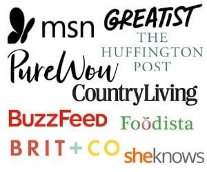 A collage image of brand names Inside the rustic kitchen has been featured in