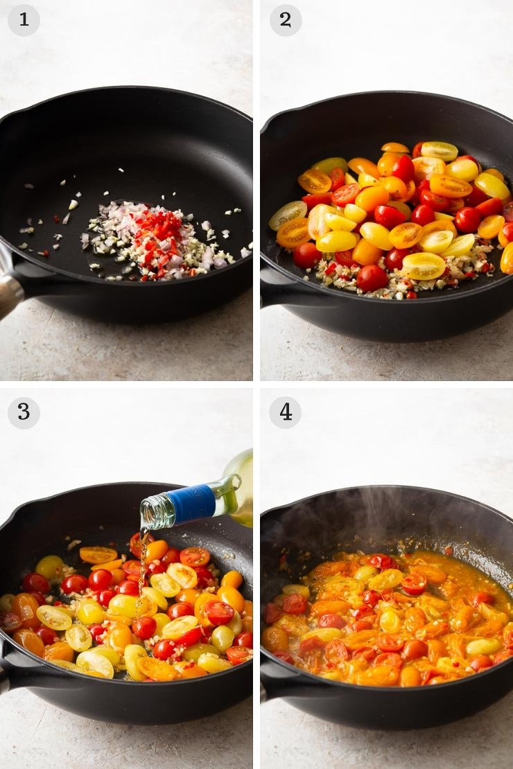 Step by step photos for making shrimp linguine
