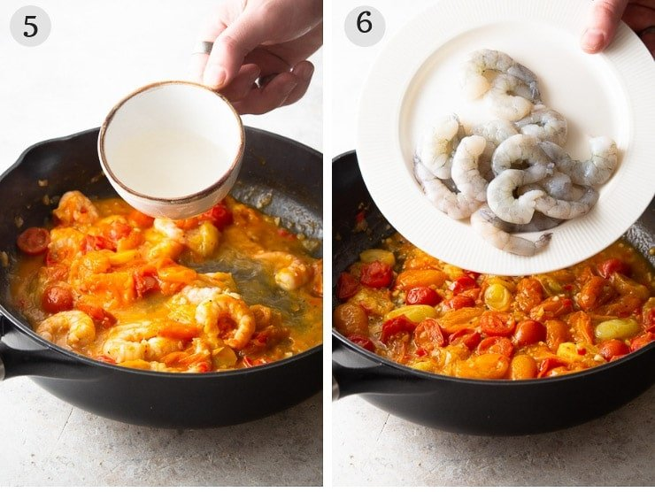 Two step by step photos for adding shrimp to a sauce to make shrimp linguine