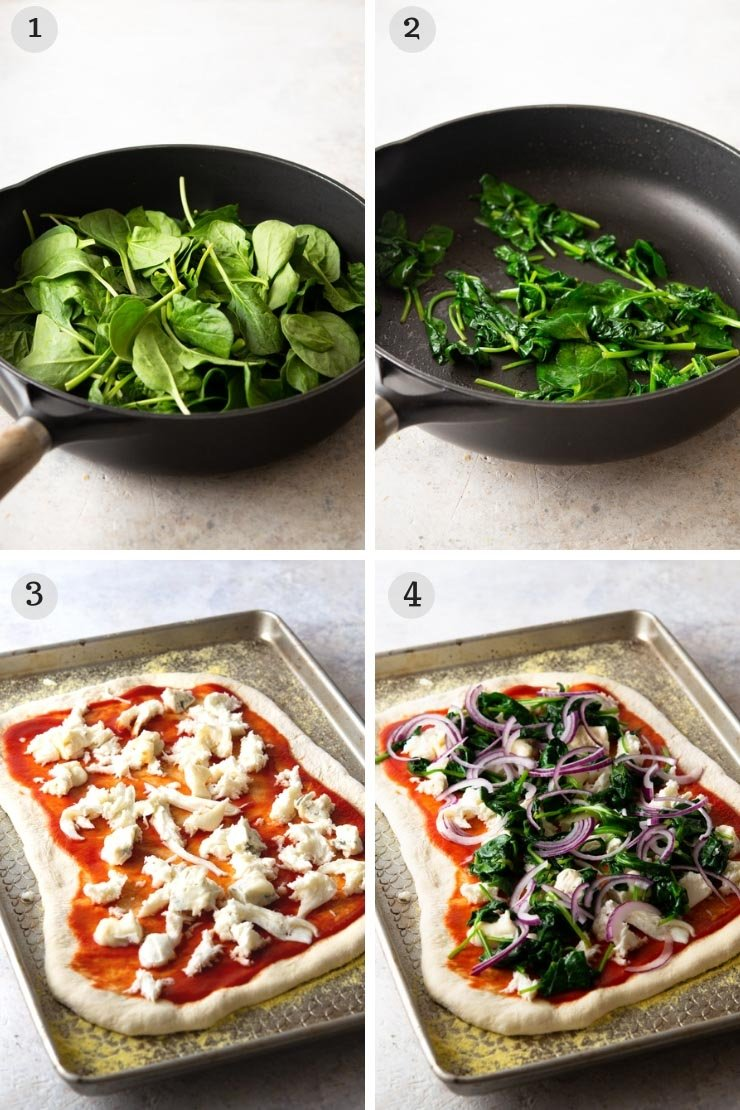 Step by step photos for making a spinach pizza