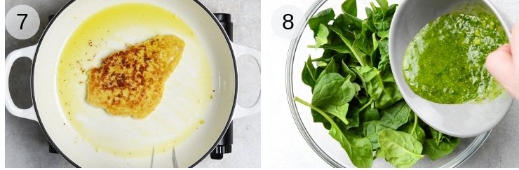 Step by step photos fro frying chicken cutlets and making pesto and spinach