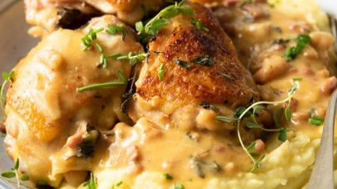 Creamy Tuscan Chicken with Garlic & Pancetta