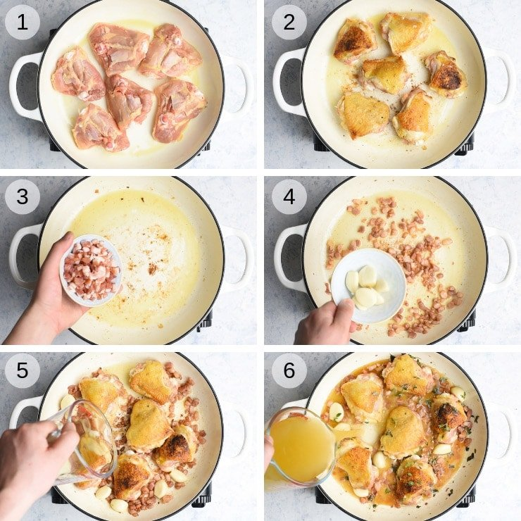 Step by step photos for making creamy Tuscan chicken