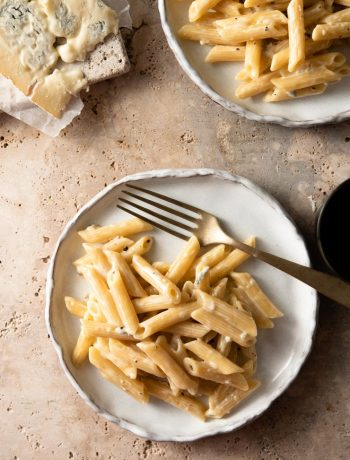 Pasta with gorgonzola sauce on a rustic plate