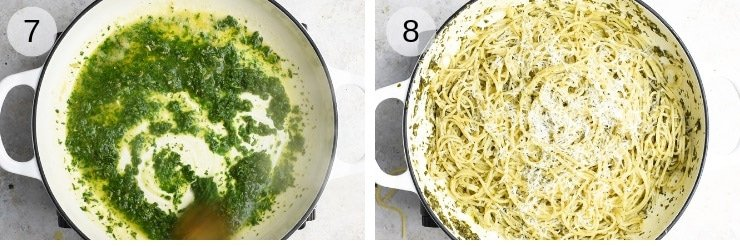 Two process shot of tossing spaghetti with herb garlic butter pasta sauce