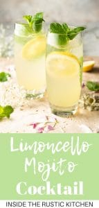 A collage image of a limoncello mojito cocktail