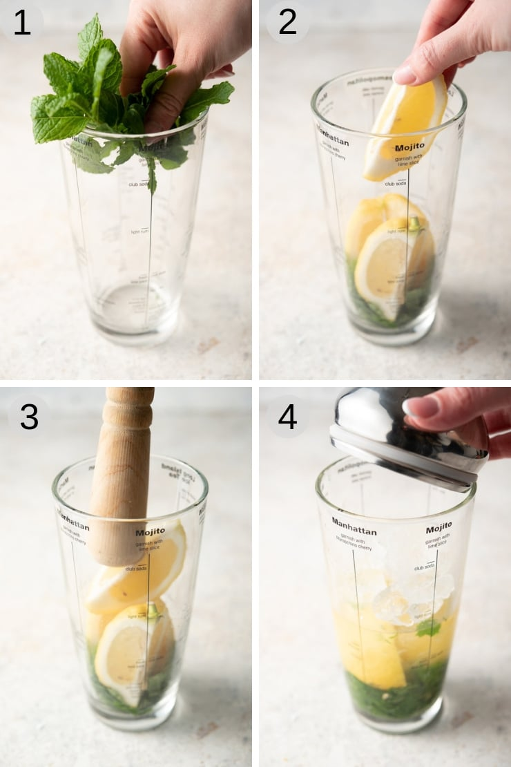 Step by step photos for making a limoncello mojito cocktail