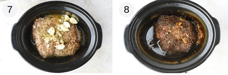 Two photos showing before and after cooking pulled pork in a slow cooker