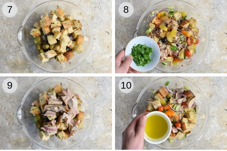 Step by step photos for making a tuna panzanella salad