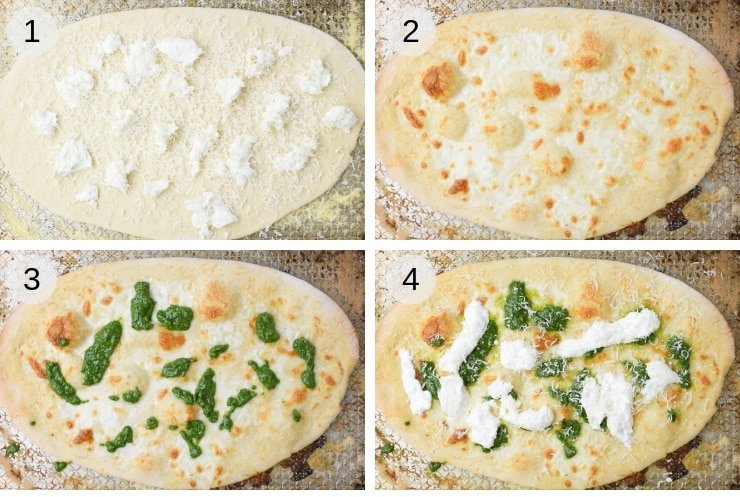 Step by step photos for making basil pizza with burrata