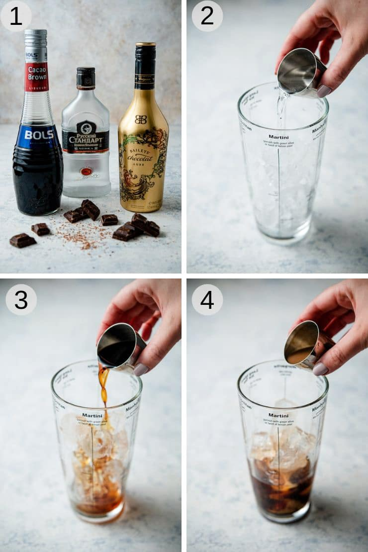 Step by step photos for making a chocolate martini
