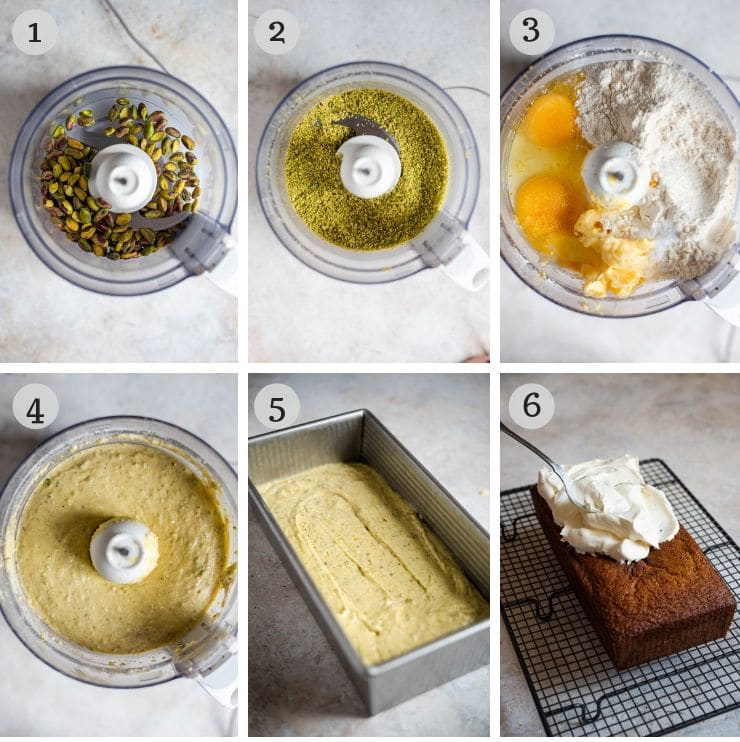Step by step photos for making a pistachio cake