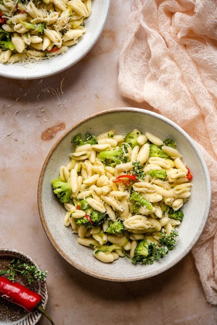 Cavatelli and broccoli in a bowl