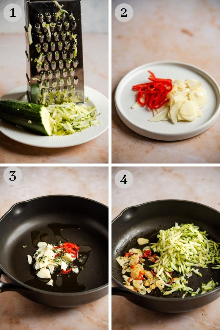 Step by step photos for making cavatelli pasta sauce with broccoli