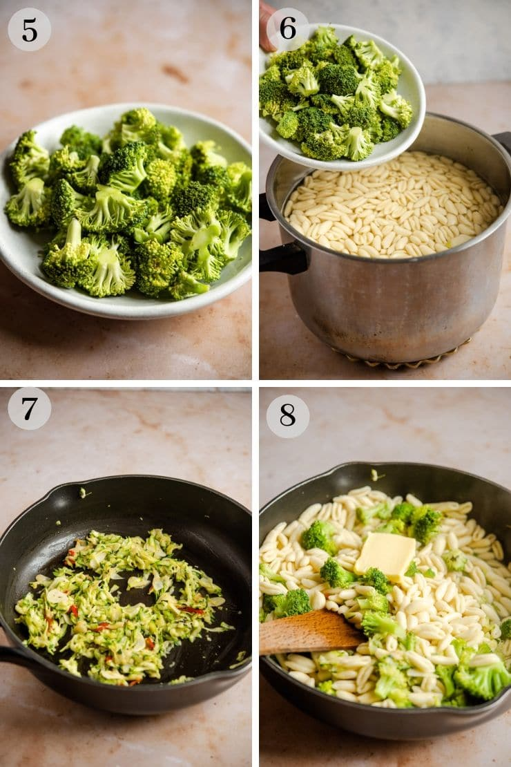 Step by step photos for making cavatelli and broccoli pasta