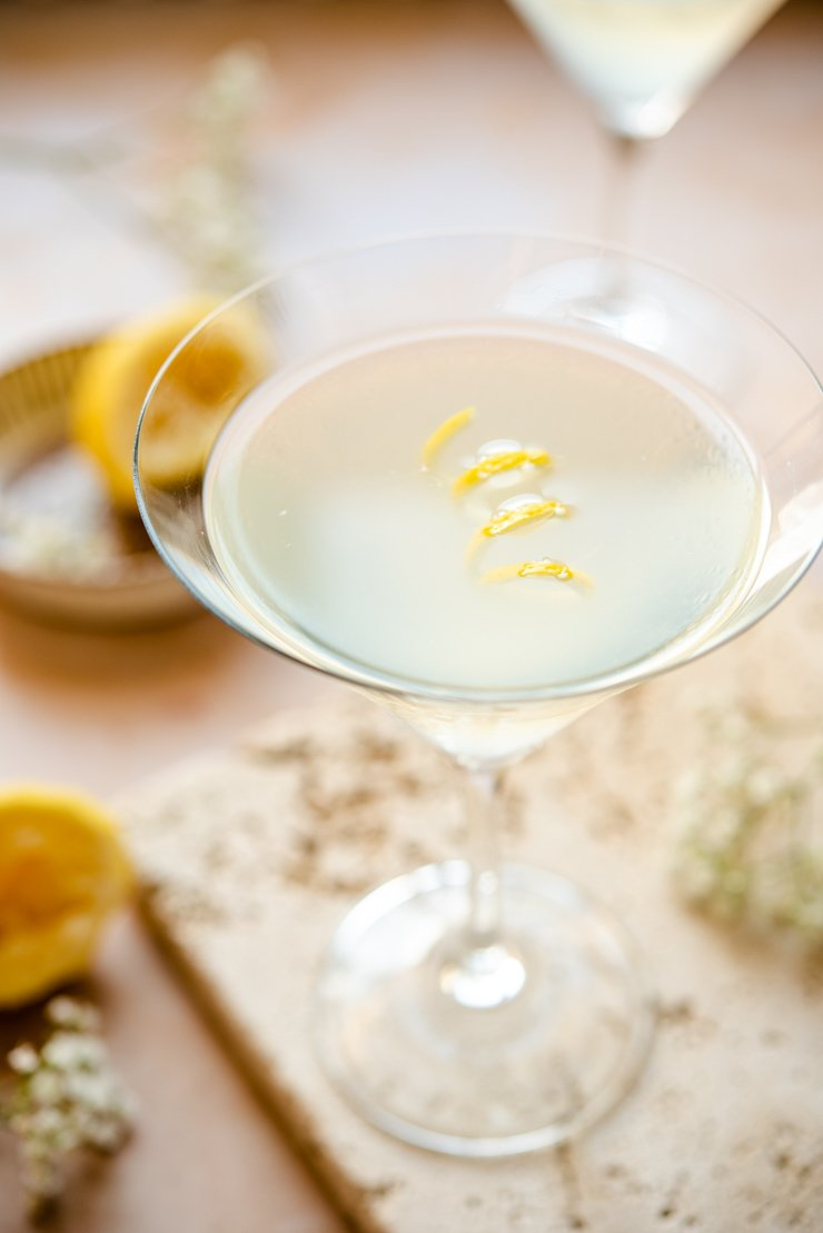 Close up of a limoncello martini in a martini glass