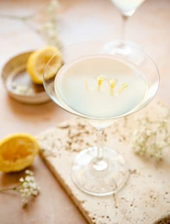 A limoncello martini (lemon drop) in a martini glass