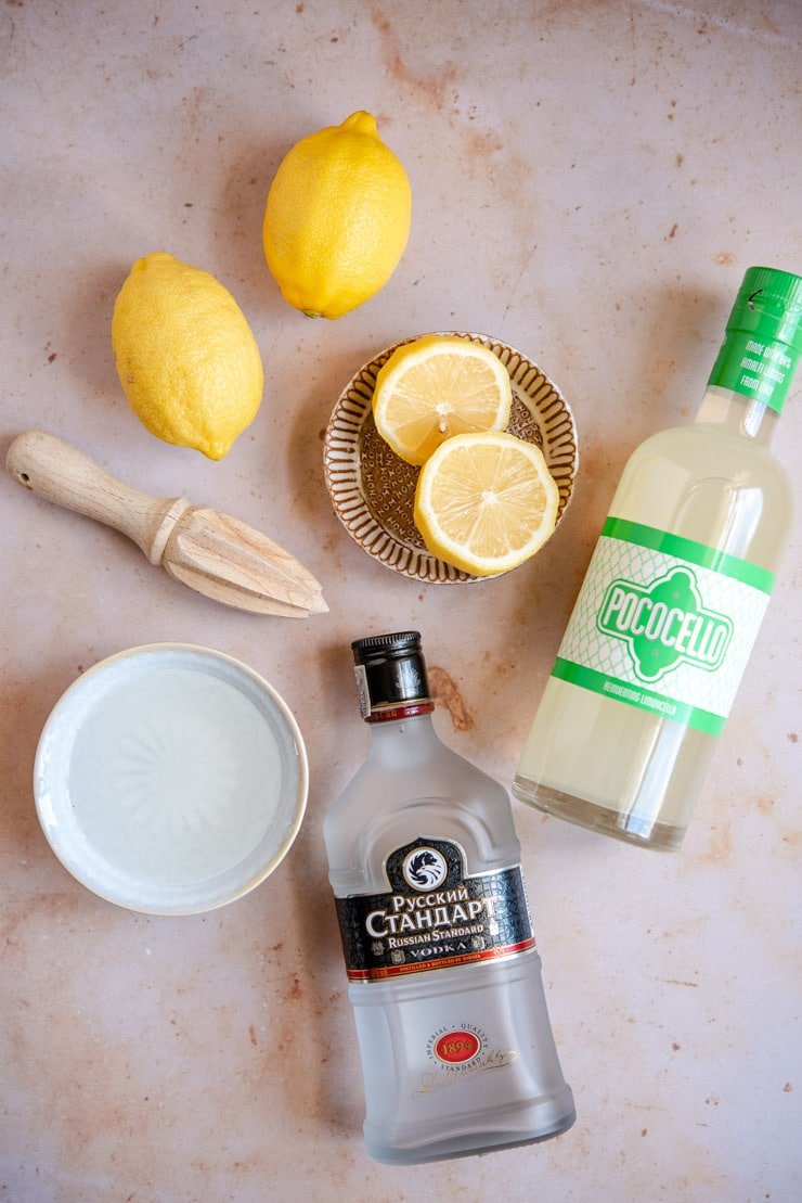 A photo of ingredients needed to make a limoncello martini (lemon drop)