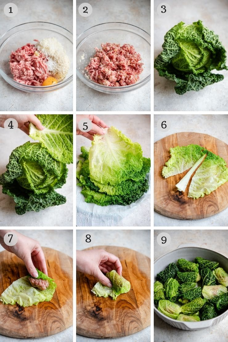 Step by step photos for making Italian stuffed cabbage rolls